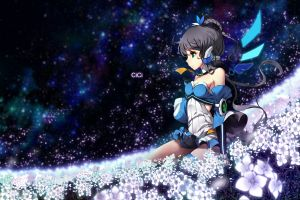 anime girls green eyes dark hair vocaloid luo tianyi anime flowers