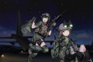 anime girls gun military weapon original characters night vision goggles anime tc1995