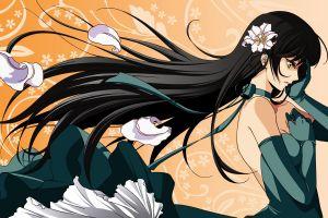 anime girls long hair flower in hair anime dark hair