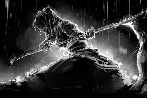 anime girls monochrome death weapon anime scythe