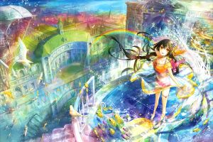 anime girls rainbows anime original characters
