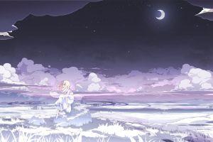 anime girls stars clouds night white dress moon landscape white anime