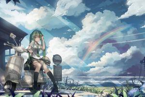 anime landscape green hair uniform cyan hair scooters long hair sky anime girls blue hair power lines clouds sun rays rainbows