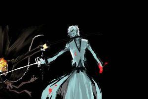 anime manga black background kurosaki ichigo bleach fighting hollow sketches