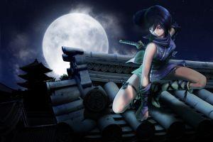 anime moon anime girls night warrior rooftops