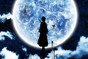 anime moonlight moon silhouette bleach