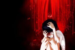anime nyu red eyes pink hair anime girls elfen lied blood nyu