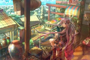 anime original characters cityscape anime girls long hair popsicle sitting