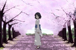 anime ryougi shiki cherry blossom kara no kyoukai kimono anime girls