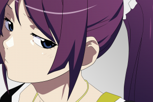 anime senjougahara hitagi monogatari series anime girls blue eyes
