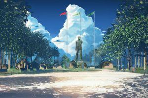 anime statue soviet games (everlasting summer) bench blue everlasting summer flag arsenixc clouds