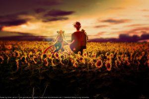 anime sunflowers anime girls air (anime)