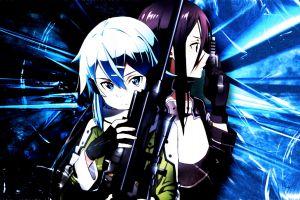 anime sword art online sinon (sword art online) anime girls video games sniper rifle
