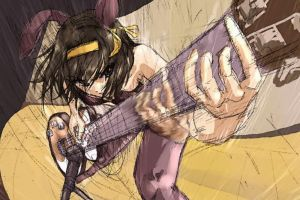 anime the melancholy of haruhi suzumiya suzumiya haruhi  ribbon guitar anime girls bunny ears