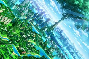 anime trees nature city fantasy art cityscape artwork