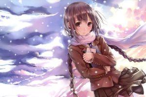 anime twintails anime girls schoolgirl