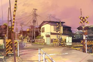 anime urban city railway crossing artwork