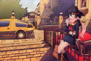 anime vehicle anime girls miniskirt matoi ryuuko senketsu car brunette short hair kill la kill
