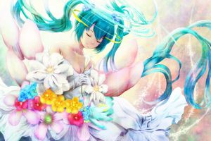 anime vocaloid anime girls hatsune miku flowers