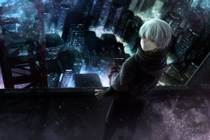 anime white hair looking over shoulder city tokyo ghoul