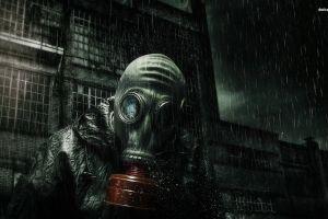 apocalyptic artwork rain gas masks