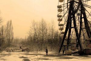 apocalyptic ferris wheel pripyat radiation urbex alone snow abandoned chernobyl sepia
