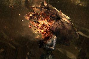 apocalyptic fire artwork digital art anime women fantasy art drawing rain umbrella spontaneous combustion burning fantasy girl