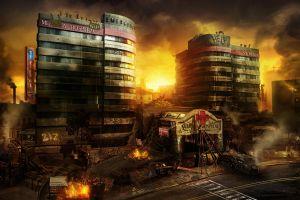 apocalyptic fire ruin digital art