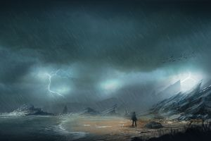 apocalyptic futuristic storm digital art