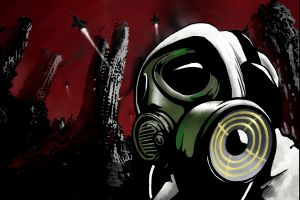apocalyptic red dirty vector (character) gas masks