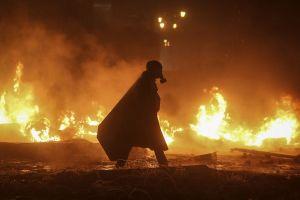 apocalyptic riots lights fire gas masks ukraine dark night