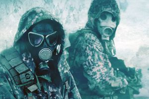 apocalyptic soldier men military winter gas masks