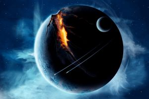 apocalyptic space art space spaceship planet digital art moon