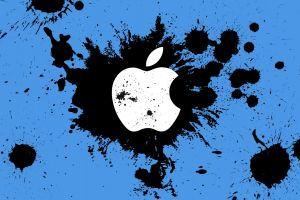 apple inc. symbols blue background paint splatter logo