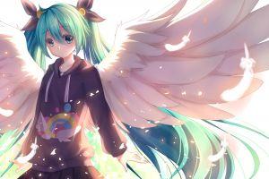 aqua eyes aqua hair wings anime girls hair ornament twintails hatsune miku vocaloid