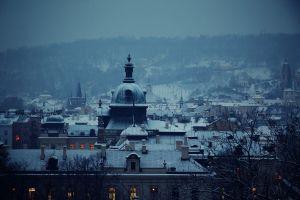 architecture cityscape landscape snow building prague