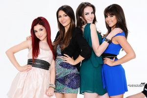 ariana grande group of women elizabeth gillies  victoria justice simple background women smiling singer