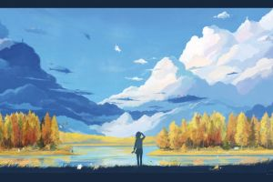 arsenixc anime girls mountains artwork painting landscape