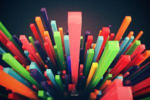artwork abstract digital art colorful depth of field lacza minimalism