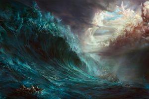 artwork boat ship sea horse fantasy art painting waves gods mythology clouds battle zeus poseidon