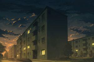 artwork building night city anime apartments