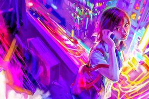 artwork cityscape women