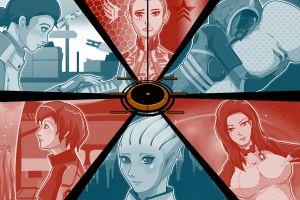 artwork collage mass effect video games women