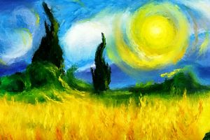 artwork colorful painting modern impressionism landscape