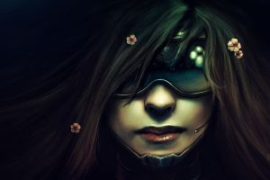 artwork cyberpunk science fiction brunette futuristic women lips glasses flowers face technology flower in hair