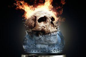artwork digital art fire fantasy art skull simple background