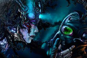 artwork fantasy art wires vitaly s alexius women cyborg gas masks romantically apocalyptic  cyberpunk robot concept art