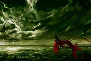 artwork fantasy girl sky clouds water sea fantasy art dark