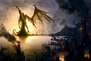 artwork fire wings creature fantasy art h. p. lovecraft destruction cthulhu