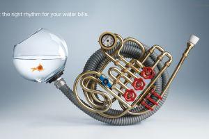 artwork fishbowls goldfish trumpets commercial